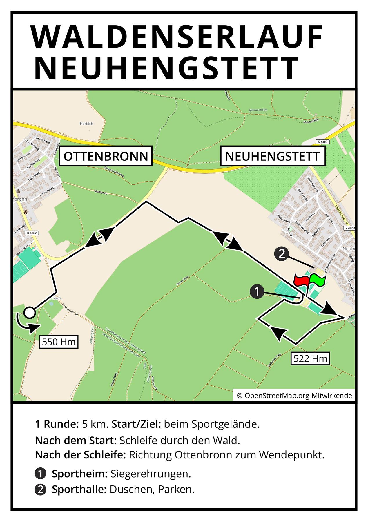Streckenverlauf Neuhengstett
