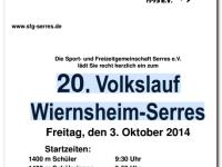 Flyer: 20. Volkslauf Wiernsheim-Serres